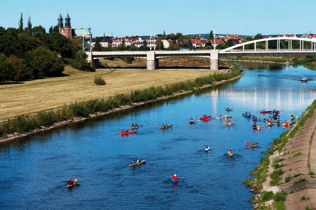 na zdjęciu widać grupę turystów płynących kajakami na rzece Warcie